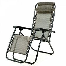 Reclining Deck Chair 110x65cm 150kg Capacity Zero Gravity, Padded Headrest, Grey