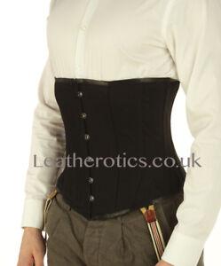 Corset For Men Black Cotton Under bust Steel Boned Back Lumber Support 1214MC