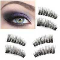Hot 4PCS Handmade Triple Magnetic Eyelashes Reusable False Eye Lashes Extension