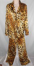 Victoria's Secret Pajama Lounge Set Silky Animal Cheetah Print Polyester Size L