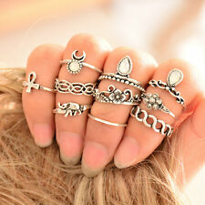 10PCS Boho Stylish Vintage Silver Ethnic Joint Ring Set Finger Knuckle Rings