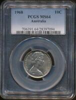 Australia, 1968 Ten Cents, 10c, Elizabeth II - PCGS MS64 (Ch-Unc)