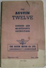 AUSTIN Twelve Car Owners Handbook May 1956  #191E
