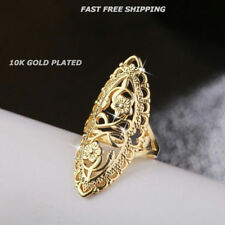 Women Fashion Jewelry 10K Gold Plated Size 8 Flower Scroll Ring Thumb Finger