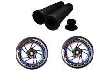 Scooter Wheels 110mm Combo Pair Black Pu Rainbow Swirl Core+Free Handlebar Grips