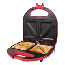 NEW ELECTRIC SANDWICH 2 SLICE TOAST TOASTER MAKER 700W NON STICK EASY CLEAN RED