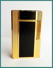 GENUINE S.T. DUPONT LARGE BLACK LACQUER - Gold Plated GAS LIGHTER >JUST SERVICED