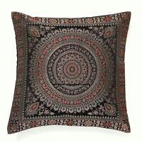 "Soft Indian mandala sari ethnic silk Banarsi cushion covers black mandala 16"""