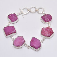 925 Sterling Silver Bracelet, Natural Corundum Ruby Raw Gemstone Jewelry RSBR82