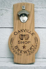 Personalized custom text logo engraved wall oak beer bottle opener. Great gift.