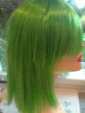MID LENGTH LUXURIOUS THICK  STRAIGHT UNISEX WIG FITS ALL LIME GREEN  (7)
