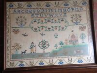 "BEAUTIFUL EARLY NEEDLEWORK SAMPLER EARLY 20TH C ABC's SCHOOL HOUSE 23"" x 18"""