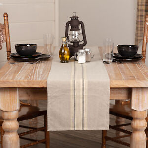 """VHC Brands Farmhouse 72""""x13"""" Table Runner Tan Appliqued Mill Kitchen Table Decor"""