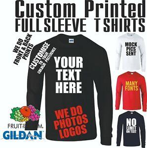 Custom T shirt Printing Long Sleeved Personalised Tops Text Photo Printing Fun