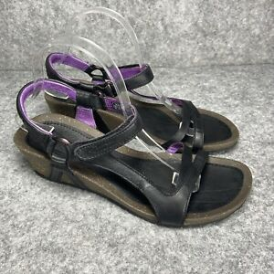 Teva Cabrillo Universal Wedge Sandals 10 M Womens Ankle Leather Black 1002370