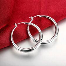 Womens 925 Sterling Silver Elegant Round Shaped Pierced Hoop Earrings 34mm