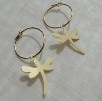 Libelle Charm Creolen Ohrringe Ohrhänger 585 Gold 14K GF/ygf Juan del Rio Design