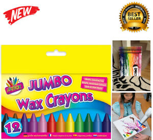 Jumbo Wax Crayons Children Kids Party Colouring Bright Colours 12 Pack Chunky