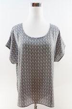 Alfani Women's Short Sleeve Scoop Neck Loose Blouse Size 8 Gray