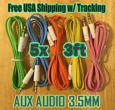 5x Pcs LOT 3.5mm 3ft 1M AUXILIARY CORD Male to Male Audio Cables AUX MIX COLORS