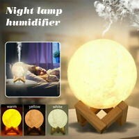 3D Moon Lamp USB Air Humidifier Aroma Mist Diffuser Purifier Night Light 880ML