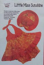 * Texture Magic LITTLE MISS SUNSHINE Dress Bloomers Hat Pattern  Sz 6mo-1yr NIP
