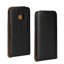 for HTC One M10 HTC 10 Black Genuine Leather Classic Slim Flip Case Cover