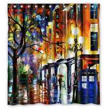 """Colorful Doctor Who Art 12 holes to which rings attach Shower Curtain 66"""" x 72"""""""
