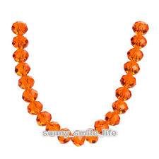 100Pcs Loose Orange Crystal Glass Faceted Rondelle Beads 6mm Spacer Findings