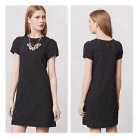 Anthropologie Maeve Capsleeve Shift Dress black polka dot button back sz Small