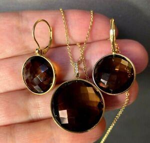 HUGE 14k Yellow Gold Smoky Quartz Diamond Vintage Dangle Earrings Pendant Set