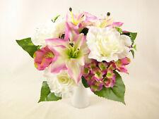 Artificial Silk Flowers Lily Rose Hydrangea Mixed Bush Bouquet Arrangement