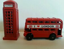 London Bus & Phone box Metallic  3D Fridge Magnets London Souvenir Gift