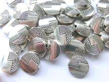 12 Metallperlen VERSILBERT SCHEIBEN 12mm gebürstet Perlen nenad-design AN422