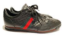 GUCCI Black Micro Guccissima Web Stripe Sneakers Size 14.5 G  Clean