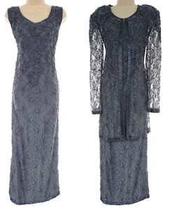 2X 18 20 GRAY BEADED LACE GOWN & JACKET Mother of Bride Dress Wedding PLUS SIZE