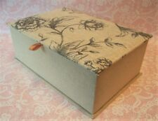 NEW Large Linen Cloth Fabric Toile Floral Jewelry Box & Mirror