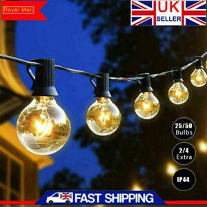 50FT Outdoor Globe String Festoon Lights Mains Powered 50+4 G40 Bulbs Warm White