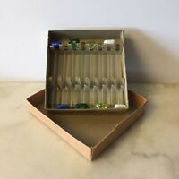 8 Vtg Blown Glass Muddlers Cocktail Stirrers Swizzle Sticks Colorful Barware Box