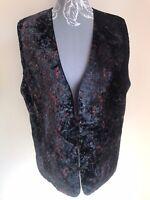 Wendy Scott Women Waistcoat Size 16 Black Mix Velvet With Buttons Casual Vintag