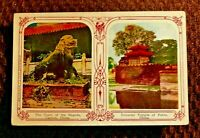 CHINESE Antique Postcard, 2 views, Canton Pagoda & Temple, Peking, 1909