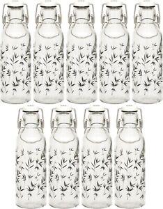 9 Glass Swing Top Bottles With Lids Sauce Dressing Water Beer Oils Flip Top 12 6