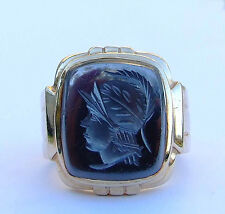 Mens Etched Hematite Gemstone Ring w/ Decorative Band - 10K Yellow Gold
