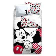Licenced Mickey & Minnie Cotton Reversible Duvet Cover Pillowcase Bedding Set