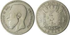 BELGIQUE  , LEOPOLD  II,  2  FRANCS  ARGENT  1868  ,  RARE