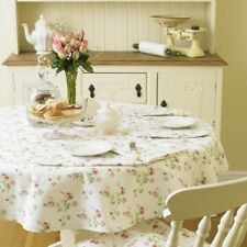 Charlotte Rose 147cm  Cream Round Vintage Style Floral Cotton Tablecloth