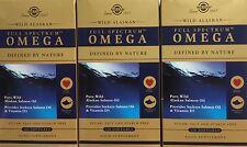 3x Solgar Wild Pure Alaskan Omega 120 Softgels Vitamin D3 Sockeye Salmon Oil