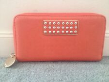 WITCHERY Coral Pink Stud Gold Metal Hardware Leather Wallet BNWT