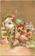 Victorian Trade Card-Swift & Co Packing Houses-Chicago-Woman on Fence-Animals