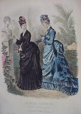 GRAVURE LA MODE ILLUSTREE ROBE ANCIENNE MODE 1874 N° 25